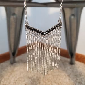 V-shaped black rhinestone & silver fringe necklace